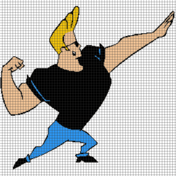 Johnny Bravo – (Chart/Graph AND Row-by-Row Written Instructions) – 03