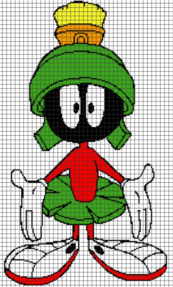 Marvin the Martian – (Chart/Graph AND Row-by-Row Written Instructions)