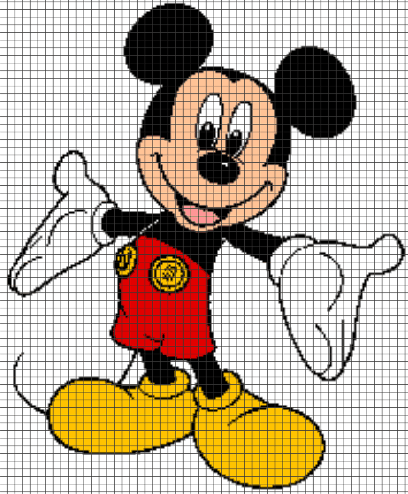 Details about Mickey Mouse Crochet Graphghan Pattern (Chart/Graph AND