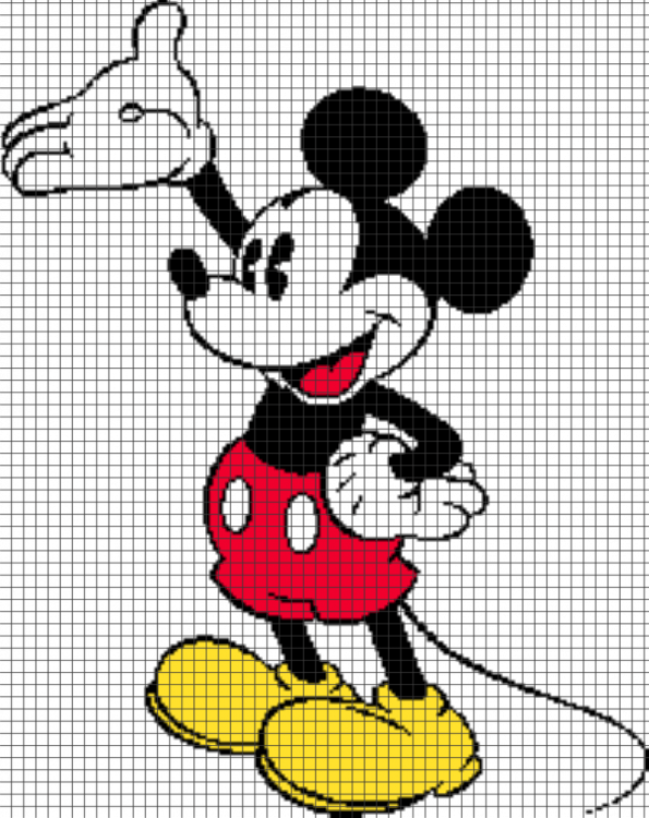 Old School Mickey Mouse – (Chart/Graph AND Row-by-Row Written Instructions)