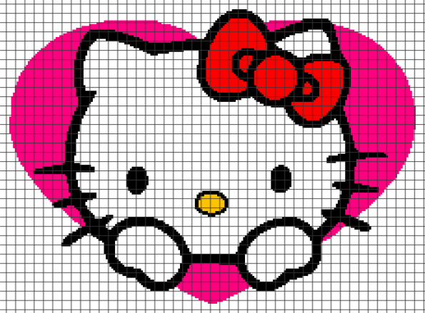 Hello Kitty Heart – (Chart/Graph AND Row-by-Row Written Instructions) – 04
