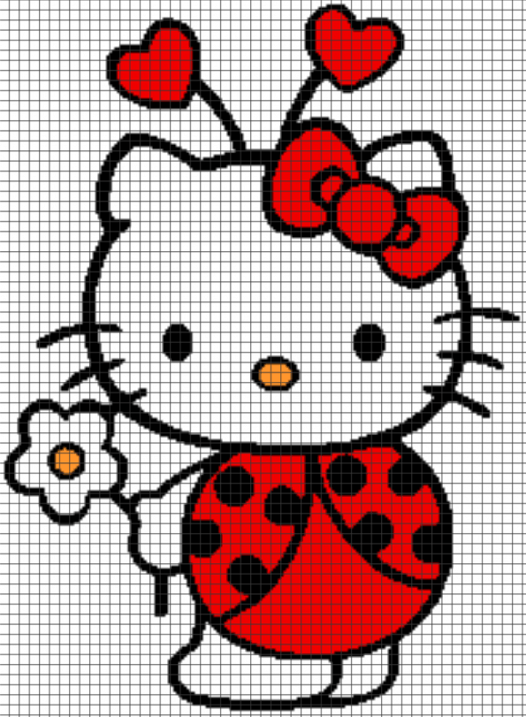 Hello Kitty Ladybug – (Chart/Graph AND Row-by-Row Written Instructions) – 07