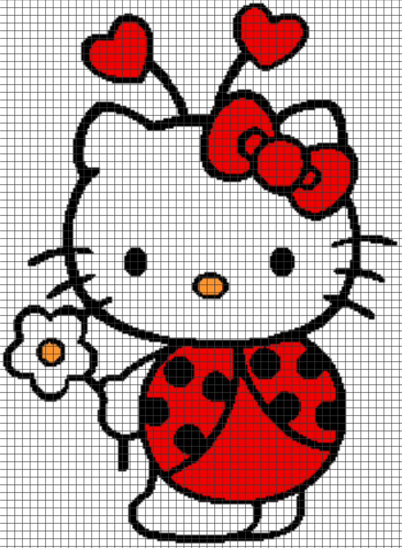 Knitting Games Hello Kitty : Hello kitty ladybug chart graph and row by written