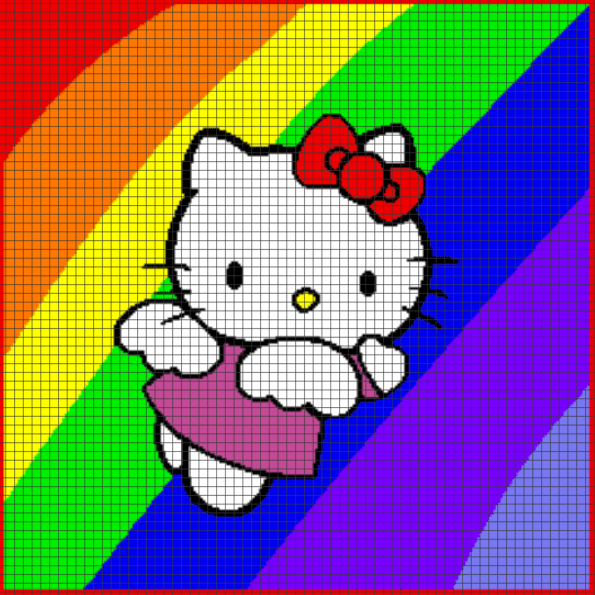 Hello Kitty Rainbow – (Chart/Graph AND Row-by-Row Written Instructions) – 03