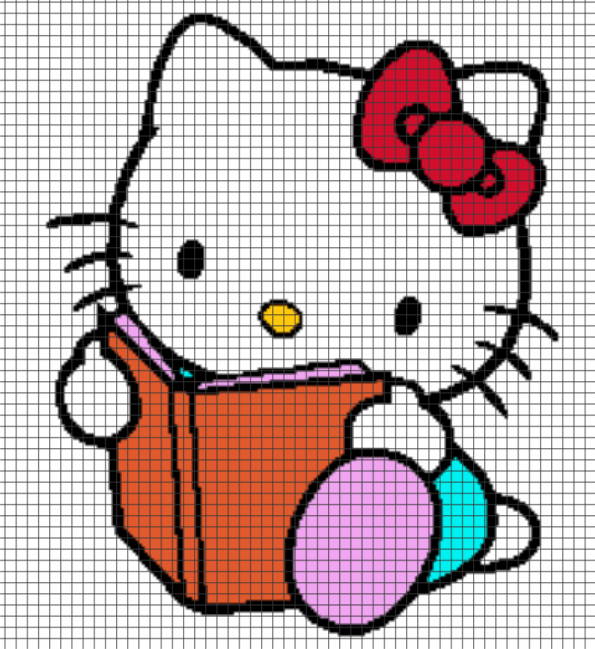 Hello Kitty Reading – (Chart/Graph AND Row-by-Row Written Instructions) – 02