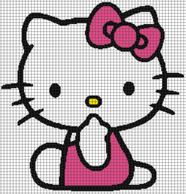Hello Kitty – (Chart/Graph AND Row-by-Row Written Instructions) – 08