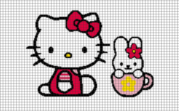 Hello Kitty Teacup – (Chart/Graph AND Row-by-Row Written Instructions) – 09