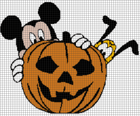 Mickey Mouse & Pluto Halloween/Pumpkin – (Chart/Graph AND Row-by-Row Written Instructions)