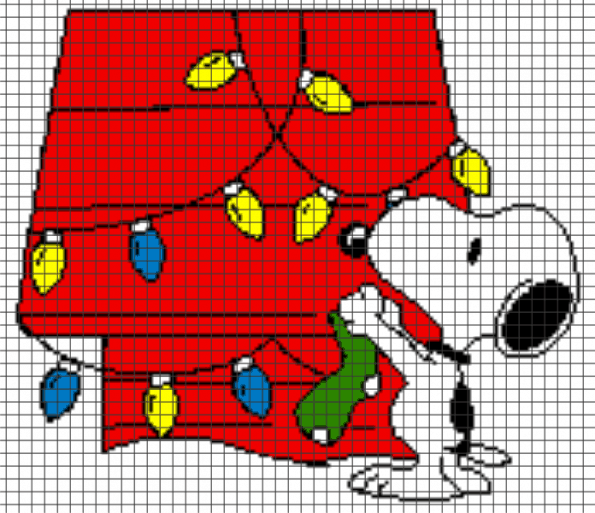 Peanuts (Snoopy Hanging Christmas Lights) – (Chart/Graph AND Row-by-Row Written Instructions)