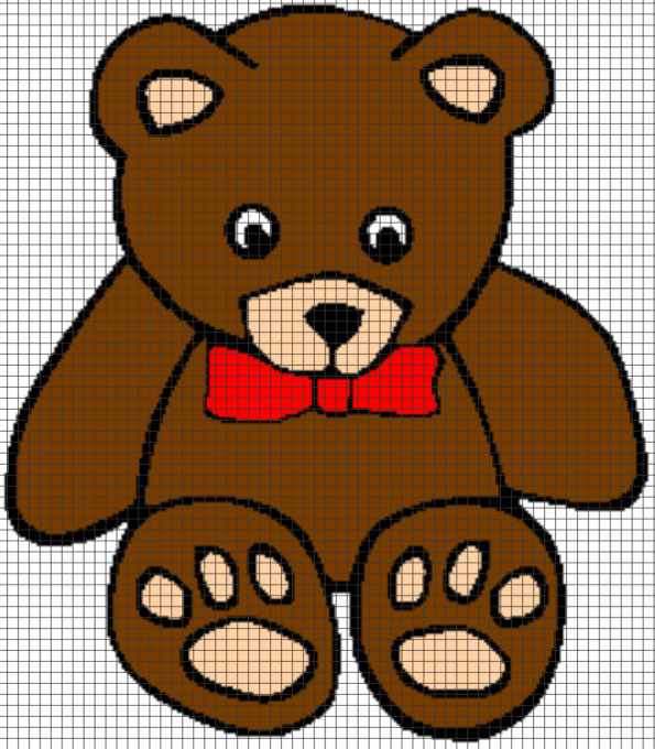Teddy Bear – (Chart/Graph AND Row-by-Row Written Instructions) – 03