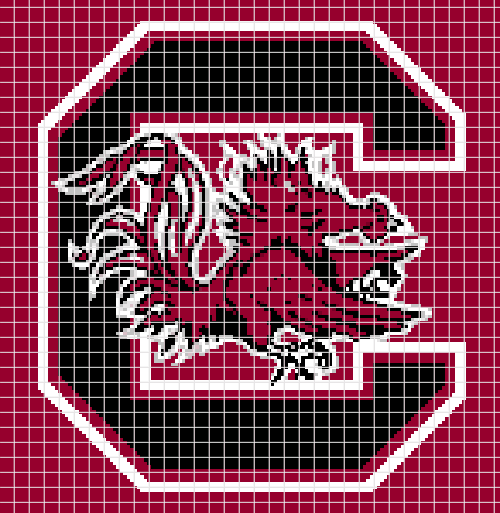 South Carolina Gamecocks – (Chart/Graph AND Row-by-Row Written Instructions)