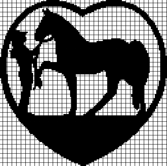 A Cowgirl Loves Her Horse! (Chart/Graph AND Row-by-Row Written Instructions)
