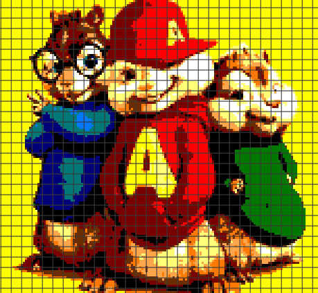 Alvin and the Chipmunks (Chart/Graph AND Row-by-Row Written Instructions)