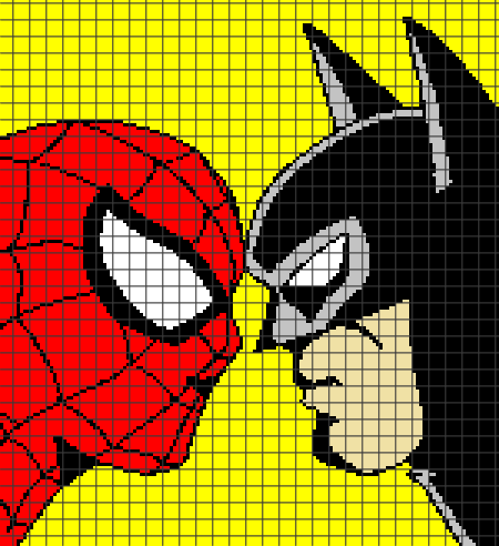 Spiderman vs. Batman (Chart/Graph AND Row-by-Row Written Instructions) – 01
