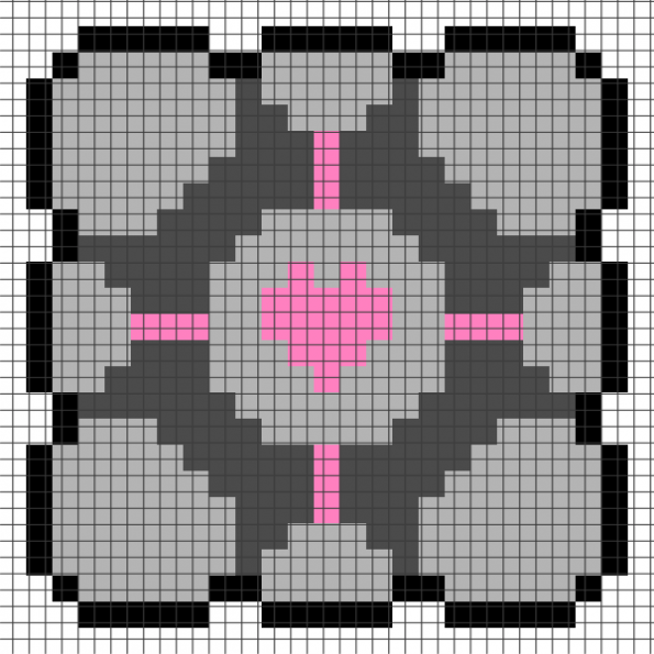 Portal Companion Cube (Chart/Graph AND Row-by-Row Written Instructions) – 01
