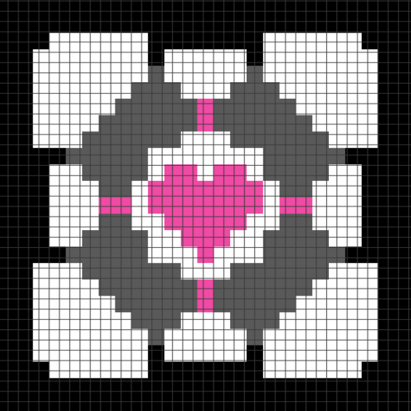 Portal Companion Cube (Chart/Graph AND Row-by-Row Written Instructions) – 02