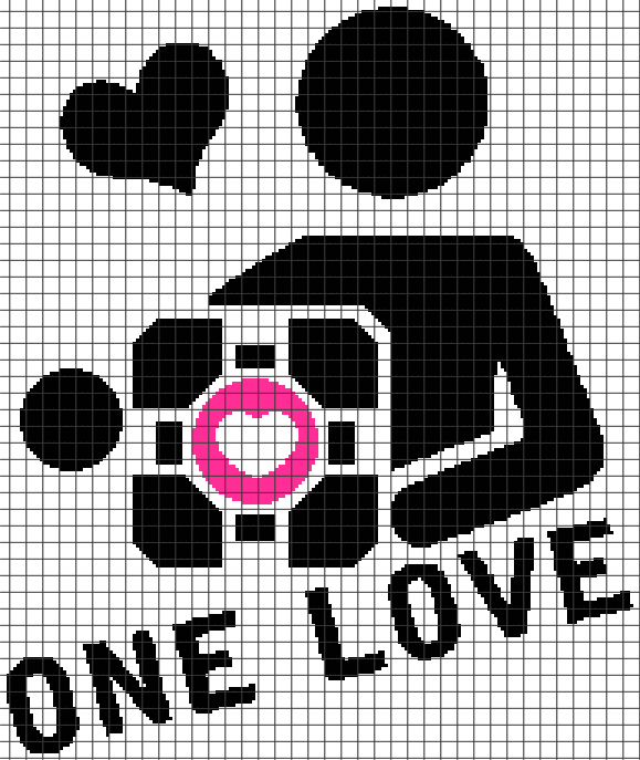 Portal Companion Cube – One Love (Chart/Graph AND Row-by-Row Written Instructions) – 03