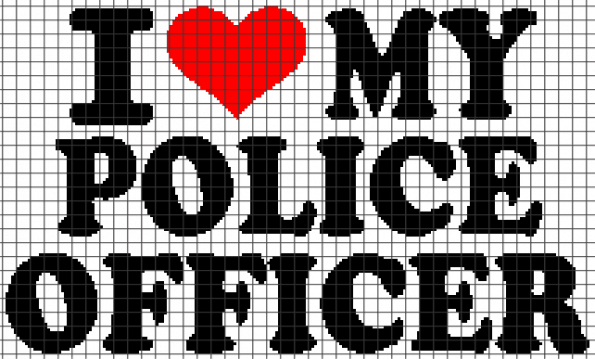 I Love My Police Officer (Chart/Graph AND Row-by-Row Written Instructions) – 01