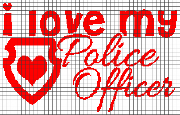 I Love My Police Officer (Chart/Graph AND Row-by-Row Written Instructions) – 04