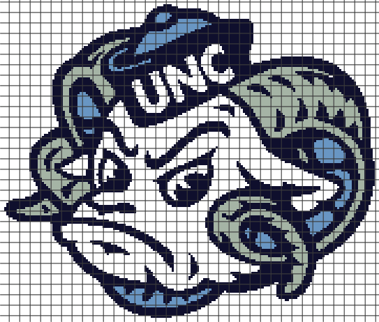 UNC Tarheels (Chart/Graph AND Row-by-Row Written Instructions) – 02