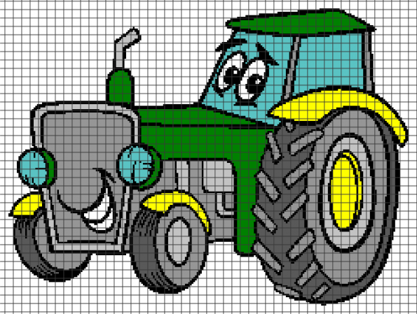 Cartoon Tractor (Chart/Graph AND Row-by-Row Written Crochet Instructions) – 02