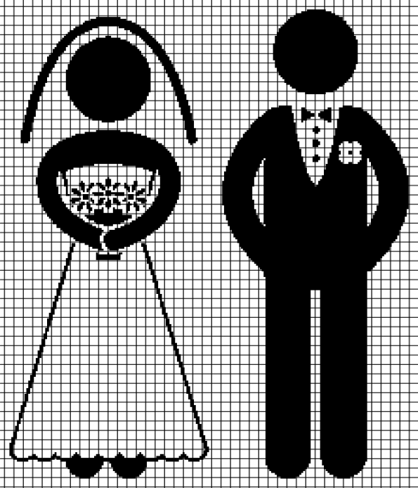 Bride and Groom (Chart/Graph AND Row-by-Row Written Crochet Instructions) – 02