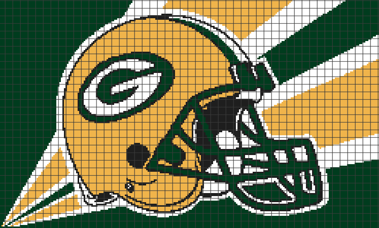 Crochet Pattern Green Bay Packer Afghan : Green Bay Packers (Chart/Graph AND Row-by-Row Written ...
