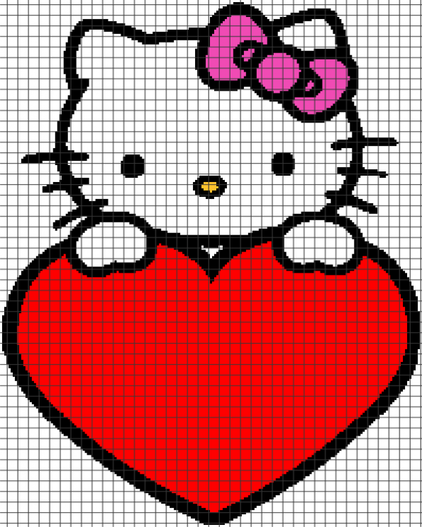Hello Kitty – Holding Heart (Chart/Graph AND Row-by-Row Written Crochet Instructions) – 11