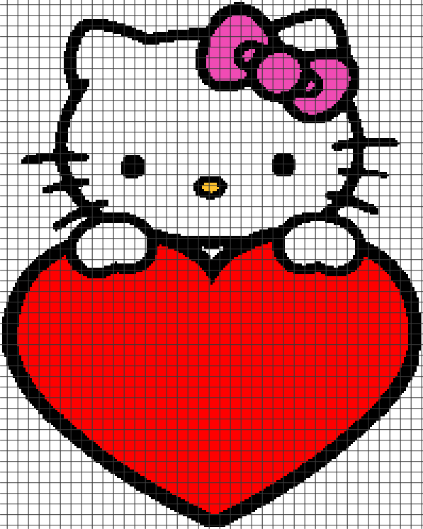 Hello Kitty Holding Heart Chartgraph And Row By Row Written