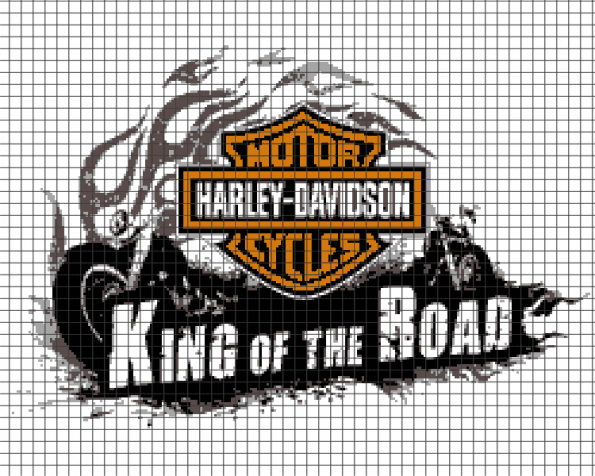 Harley Davidson – King of the Road (Chart/Graph AND Row-by-Row Written Instructions) – 02 (250×200)