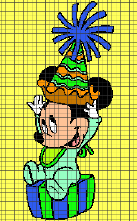 Baby Mickey Mouse Birthday (Chart/Graph AND Row-by-Row Written Crochet Instructions) – 04