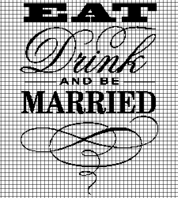 Eat, Drink, and Be Married (Chart/Graph AND Row-by-Row Written Crochet Instructions) – 03
