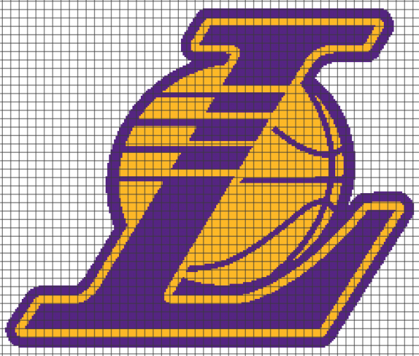Los Angeles Lakers (Chart/Graph AND Row-by-Row Written Crochet Instructions) – 02