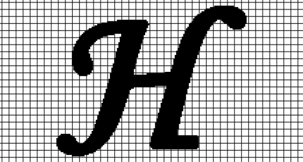H – Monotype Corsiva (Chart/Graph AND Row-by-Row Written Crochet Instructions)