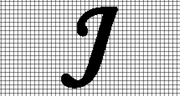 J – Monotype Corsiva (Chart/Graph AND Row-by-Row Written Crochet Instructions)
