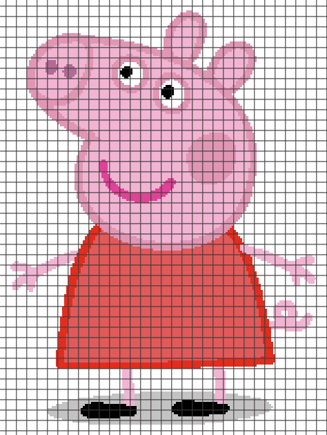 Peppa Pig Knitting Patterns : Peppa Pig (Chart/Graph AND Row-by-Row Written Crochet Instructions) - 02 - Ya...