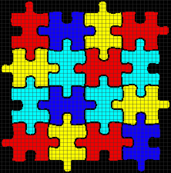 Autism Puzzle Pieces (Chart/Graph AND Row-by-Row Written Crochet Instructions) – 05