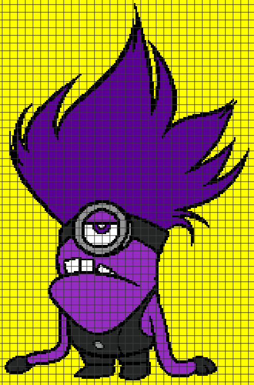 Despicable Me Evil Purple Minion Chartgraph And Row By Row
