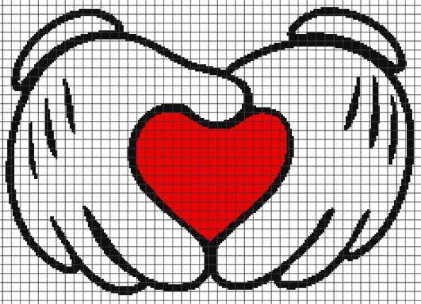 Mickey Hands Holding Heart (Graph AND Row-by-Row Written Crochet Instructions) – 11