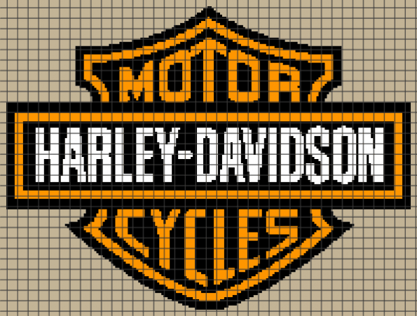 Harley Davidson Logo (Graph AND Row-by-Row Written Crochet Instructions) – 08