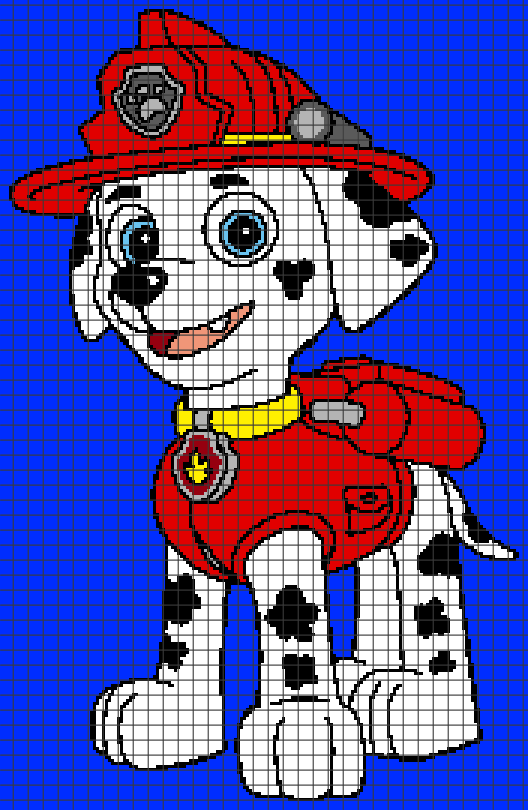 Paw Patrol – Marshall (Graph AND Row-by-Row Written Crochet Instructions) – 01