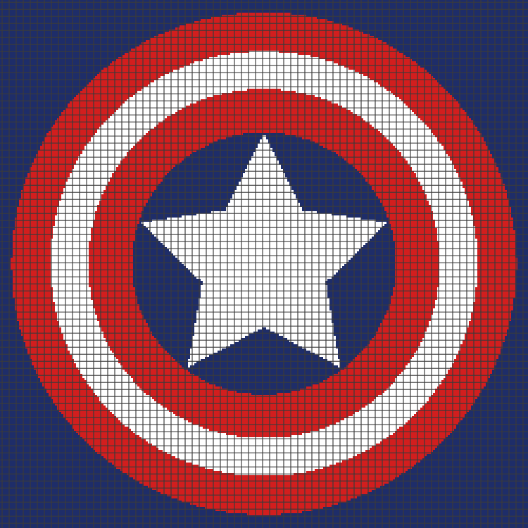 Captain America Knitting Pattern : Captain America Shield (Graph AND Row-by-Row Written Crochet Instructions) - ...