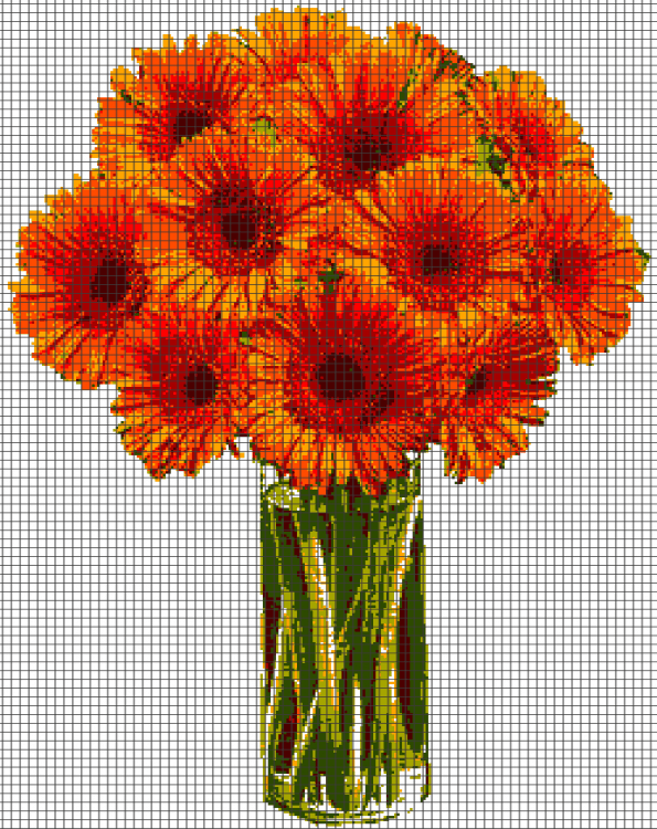 Orange Flowers (Graph AND Row-by-Row Written Crochet Instructions) – 03