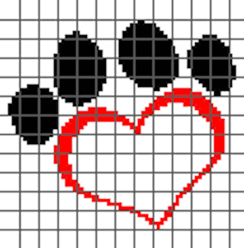 Dog Love PILLOW (Graph AND Row-by-Row Written Crochet Instructions) – 08