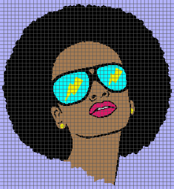 Cool Afro Chick with Shades (Graph AND Row-by-Row Written Crochet Instructions) - 05