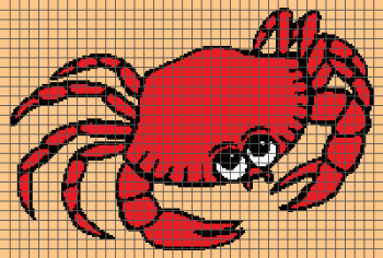 Red Crab - (Graph AND Row-by-Row Written Crochet Instructions) - 01