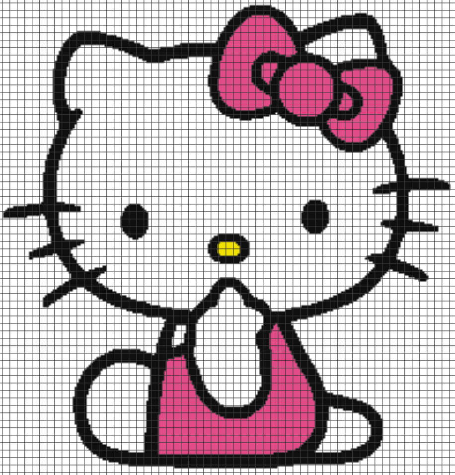 Hello Kitty Chart Graph And Row By Row Written