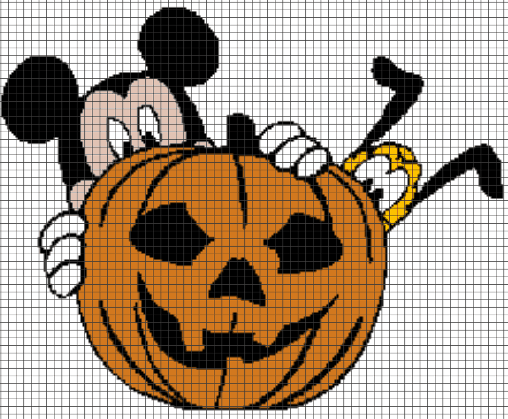 Mickey Mouse Amp Pluto Halloween Pumpkin Chart Graph And