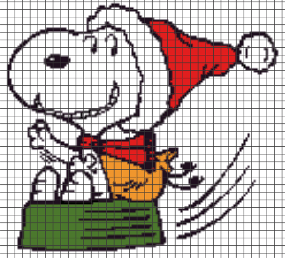 Christmas Snoopy.Peanuts Sledding Christmas Snoopy Chart Graph And Row By Row Written Instructions
