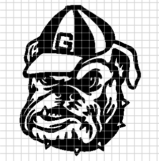University of Georgia – Bulldog Logo – (Chart/Graph AND Row-by-Row Written Instructions)